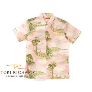 トリリチャード TORI RICHARD 半袖 アロハシャツ ハワイ ピンク (米国製 HAWAII)|jalana