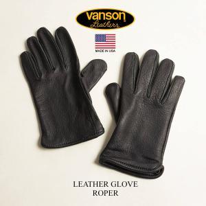 【クーポン配布中】バンソン VANSON レザーグローブ ローパー ブラック MADE IN USA Roper 手袋|jalana