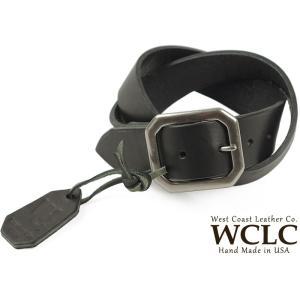 WCLC ウエストコーストレザーカンパニー ヘビーサドルレザーベルト 大きいサイズ ブラック アメリカ製 (米国製 4.5〜5mm厚 West Coast Leather Company)|jalana