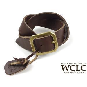 WCLC ウエストコーストレザーカンパニー ヘビーサドルレザーベルト ブラウン アメリカ製 米国製 (4.5〜5mm厚 West Coast Leather Company MADE IN USA)|jalana
