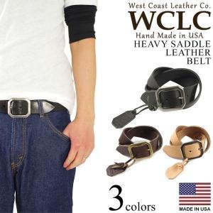 WCLC ウエストコーストレザーカンパニー ヘビーサドルレザーベルト タン アメリカ製 米国製 (4.5〜5mm厚 West Coast Leather Company MADE IN USA)|jalana