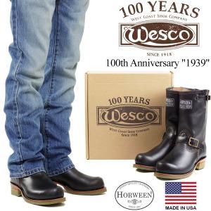 ウェスコ Wesco #1939 100周年記念 エンジニアブーツ ブラックホースハイド (ウエスコ アメリカ製 米国製 限定 ホーウィン)|jalana