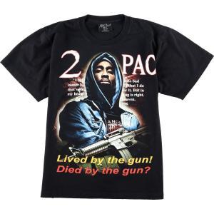 90年代~ Rock Chang 2PAC トゥーパック Lived by the gun! Died by the gun? 両面プリント バンドTシャツ メンズL 【中古】 【200307】 /eaa012915|jamtrading1