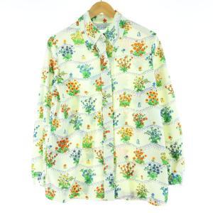70年代 NPC fashions 花柄 長袖 シャツ レディースM ヴィンテージ 【中古】 【200328】 /wbi7640|jamtrading1