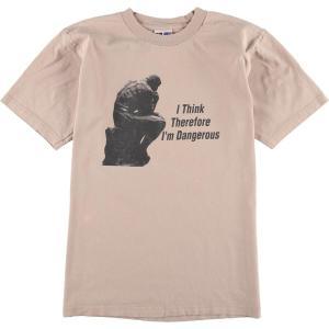 90年代 BAYSIDE I THINK THEREFORE I'M DANGEROUS 考える人 メッセージプリントTシャツ USA製 メンズM ヴィンテージ 【中古】 【200327】 /wbi8050|jamtrading1