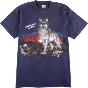90年代 フルーツオブザルーム FRUIT OF THE LOOM オオカミ柄 アニマルプリントTシャツ USA製 メンズXL ヴィンテージ 【中古】 【200328】 /wbi8060|jamtrading1