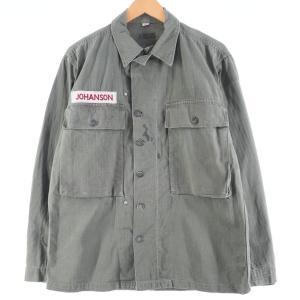 40年代 米軍実品 M-43 13スターボタン ガスフラップ付き HBTジャケット ミリタリー ユーティリティシャツ USA製 36R メンズM 【中古】 【200222】 /wbj0847|jamtrading1