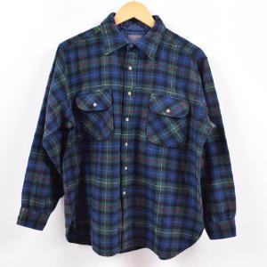 80年代 ペンドルトン PENDLETON チェック柄 ウールシャツ USA製 メンズL ヴィンテー...