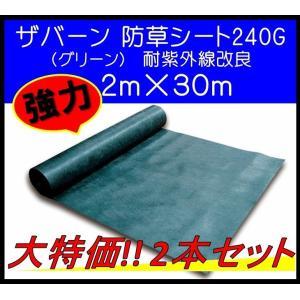 ザバーン デュポン社 防草シート 240G 2m×30m XA-240G2.0 グリーン 耐紫外線改良タイプ 強力 2本セット 大特価|janet