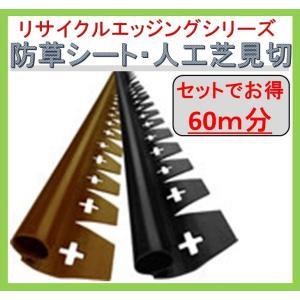 防草シート見切 人工芝見切 リサイクルエッジング プラエッジ35 Qタイプ EDG-BWBL-3P 60m分 約2m×3本×10セット 接続部品付|janet