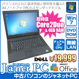 中古ノートパソコン Windows7 Core2Duo T9600 2.80GHz メモリ4GB HDD320GB DVD-ROM 無線LAN Office付属 DELL Latitude E5400|janetpc