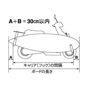 【法定クリアー】 レインボー スクーターバイク (原付) 用 サーフボードキャリアー janis 03