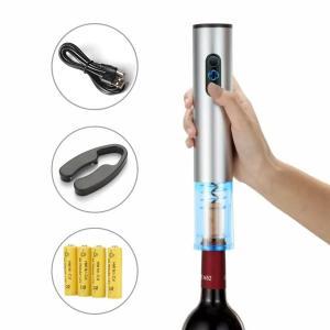 電動ワインオープナー、自動式ワインオープナー、アルミ合金、コードレス フォイルカッター付き、メタリックペイント シルバー 充電式 janri