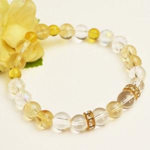 シトリン  黄水晶 ブレスレット 天然石 パワーストーン 大人 上品|japan-couture