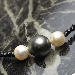 黒蝶真珠 パールネックレス  あこや真珠 パールネックレス  スルーネックレス 3ストーン 大人 上品|japan-couture