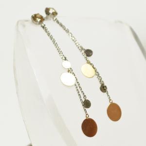 ダイヤモンド プラチナピアス TTLB チェーン付き 18金コンビ ロングピアス 大人 上品|japan-couture