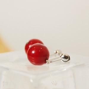 10mm珠 ウミタケ珊瑚 海竹珊瑚イヤリング 赤い石 宝石 プレゼント ドロップイヤリング シルバー925 ケース付 保証書付 日本製 大人 上品|japan-couture