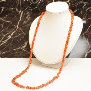 カーネリアン 赤瑪瑙 メノウ サザレロングネックレス 90cm ロング めのう 天然石 パワーストーン プレゼント ケース付き 大人 上品|japan-couture