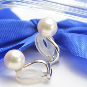 国産 あこや本真珠 7.5mm-8.0mm珠 イヤリング クリップ式 大人 上品|japan-couture