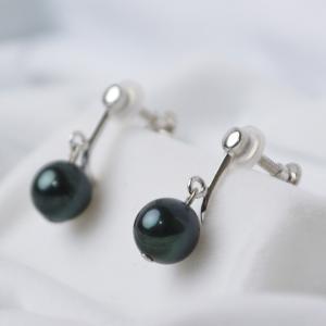 黒真珠 あこや本真珠 イヤリング シルバー 大人 上品|japan-couture|02