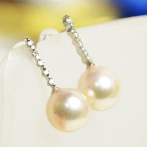 本真珠 あこや真珠 プラチナピアス ダイヤモンド0.1ct 大人 上品|japan-couture