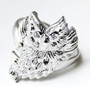 ダイヤモンド フクロウデザインリング  お守りリング シルバー ケース付 プレゼント 開運  大人 上品 japan-couture