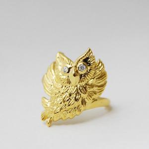 ダイヤモンド フクロウデザインリング お守りリング  ゴールド ケース付 プレゼント 開運  大人 上品 japan-couture