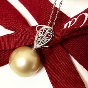 Pt900 南洋白蝶真珠 13mm珠 シャンパンゴールデンパール ペンダントネックレス 大人 上品 japan-couture