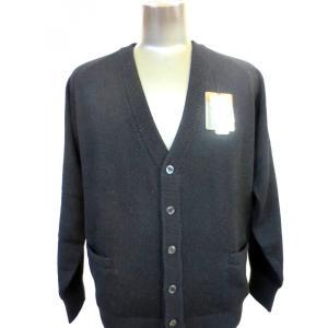 日本国内でカシミヤ原毛を精製、縮絨加工、12ゲージ天竺編みのメンズ紳士カシミヤ100%カーディガン2Lサイズのブラック国産|japan-made-fullhouse
