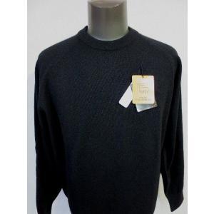 日本国内でカシミヤ原毛を精製、縮絨加工、12ゲージ天竺編みのメンズ紳士カシミヤ100%丸首クルーネックセーターMサイズのブラック国産|japan-made-fullhouse