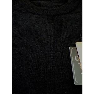 日本国内でカシミヤ原毛を精製、縮絨加工、12ゲージ天竺編みのメンズ紳士カシミヤ100%丸首クルーネックセーターMサイズのブラック国産|japan-made-fullhouse|02