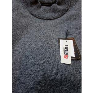日本国内でカシミヤ原毛を精製、縮絨加工、12ゲージ天竺編みのメンズ紳士カシミヤ100%モックネックハイネックセーターLサイズのチャコール国産|japan-made-fullhouse|02