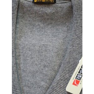 日本国内でカシミヤ原毛を精製、縮絨加工、12ゲージ天竺編みのメンズ紳士カシミヤ100%前開きオープンベストLサイズのグレー国産|japan-made-fullhouse|02