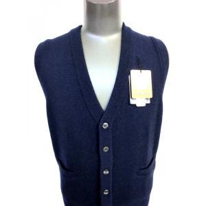 日本国内でカシミヤ原毛を精製、縮絨加工、12ゲージ天竺編みのメンズ紳士カシミヤ100%前開きオープンベストMサイズのネイビー国産|japan-made-fullhouse