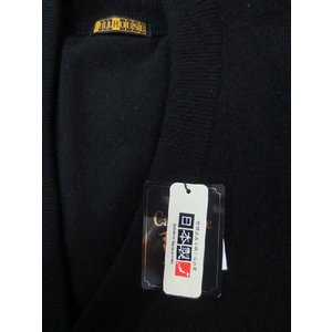 日本国内でカシミヤ原毛を精製、縮絨加工、12ゲージ天竺編みのメンズ紳士カシミヤ100%前開きオープンベスト2Lサイズのブラック国産|japan-made-fullhouse|02