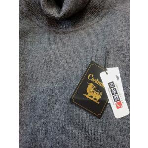 日本国内でカシミヤ原毛を精製、縮絨加工、12ゲージ天竺編みのメンズ紳士カシミヤ100%トックリタートルネックセーターLサイズのチャコール国産|japan-made-fullhouse|02