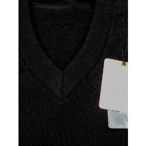 日本国内でカシミヤ原毛を精製、縮絨加工、12ゲージ天竺編みのメンズ紳士カシミヤ100%VネックセーターLサイズのブラック国産|japan-made-fullhouse|02