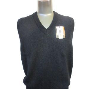 日本国内でカシミヤ原毛を精製、縮絨加工、12ゲージ天竺編みのメンズ紳士カシミヤ100%Vネックベスト2Lサイズのブラック国産|japan-made-fullhouse