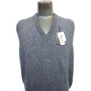 日本国内でカシミヤ原毛を精製、縮絨加工、12ゲージ天竺編みのメンズ紳士カシミヤ100%Vネックベスト2Lサイズのチャコール国産|japan-made-fullhouse