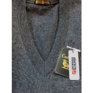 日本国内でカシミヤ原毛を精製、縮絨加工、12ゲージ天竺編みのメンズ紳士カシミヤ100%Vネックベスト2Lサイズのチャコール国産|japan-made-fullhouse|02