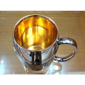 黄金に輝く燕市の金属グラスコップ、タンブラー、マグカップ黄金に輝く燕三条内面純金ステンレス製MSLポーチ付国産日本製|japan-made-skittle
