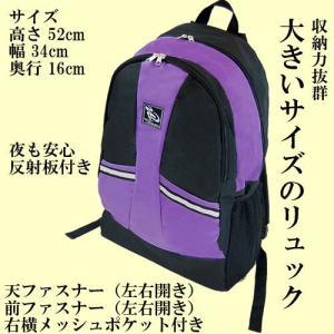 大きいサイズのリュック・お洒落なトラベラーズバックパック【リュックサック】ブラック&パープル|japan