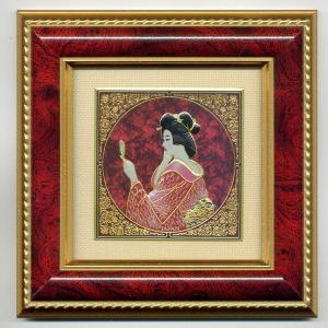 彫金日本の風景額 松葉美人 赤|japan