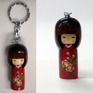 ミニこけしキーホルダー桜赤|japan