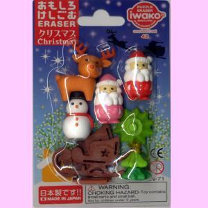 ミニフィギュア消しゴム6個セット(赤サンタ・ピンクサンタ・雪だるま・クリスマスツリー・トナカイ・ソリ)|japan