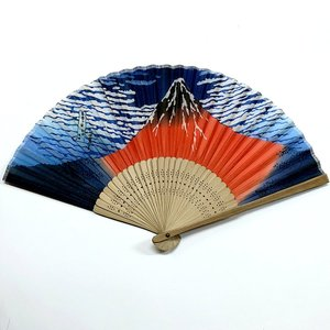 開運 絹扇子 赤富士 (プラケース付き)|japan