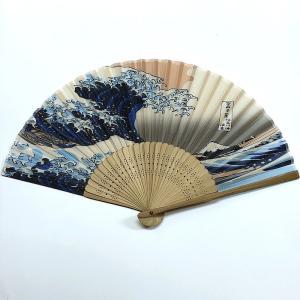 開運 絹扇子 波裏 (プラケース付き)|japan
