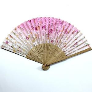 開運扇子  満開桜 ピンク(プラケース付き)|japan