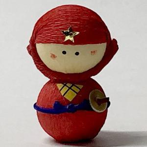 日本のおみやげ民芸玩具起き上がりこぼし人形 赤忍者|japan