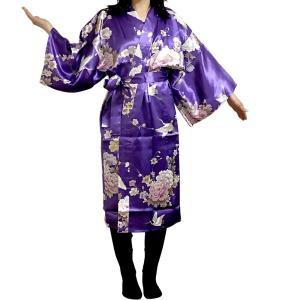 シルクハッピローブ 鶴 紫|japan